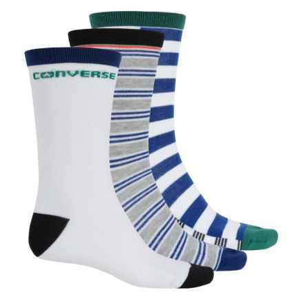 Converse Crew Socks - 3-Pack (For Men) in White/Grey/Blue Stripe - Closeouts