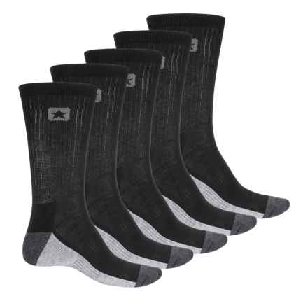 Converse Crew Socks - 5-Pack (For Men) in Black - Closeouts
