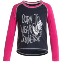 Converse Logo T-Shirt - Long Sleeve (For Big Girls) in Navy - Closeouts