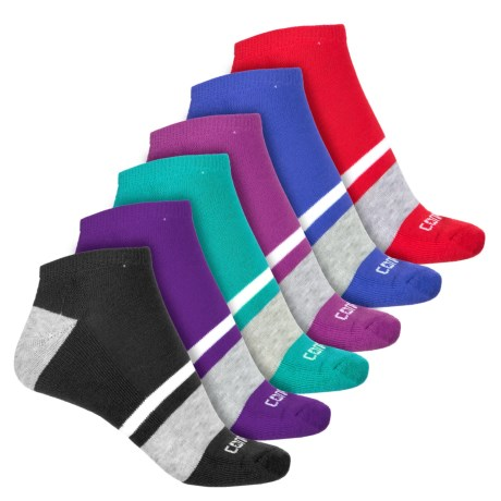 Converse No-Show Half-Cushion Socks - 6-Pack, Below the Ankle (For Women) in Color Block Stripes
