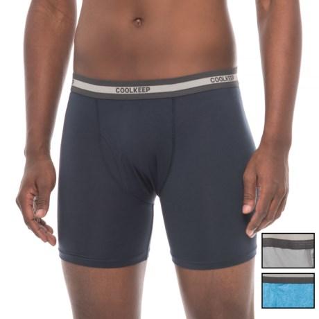 CoolKeep Knit Boxer Briefs - 3-Pack (For Men) in Cement/Ocean/Navy