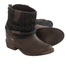 Coolway Clea Leather Ankle Boots - Hidden Wedge Heel (For Women) in Black - Closeouts