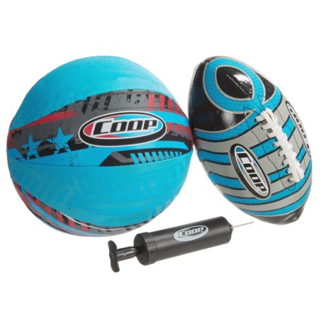 Coop Hydro Turbine Football and Basketball Set in Blue/Red