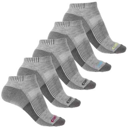 Copper Fit Ankle Sport Socks - 5-Pack, Below the Ankle (For Women) in Light Grey Heather - Closeouts