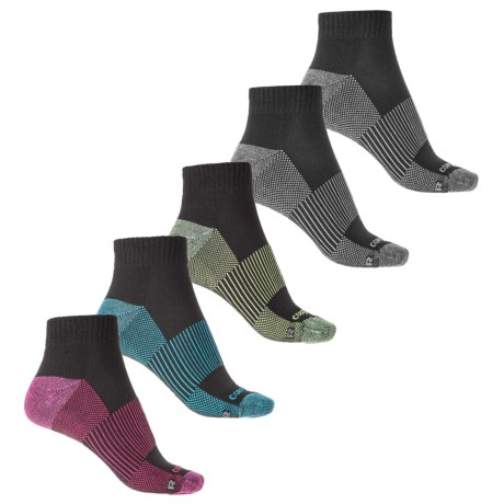 Copper Fit Half-Cushion Socks - 5-Pack, Ankle (For Women) in Black