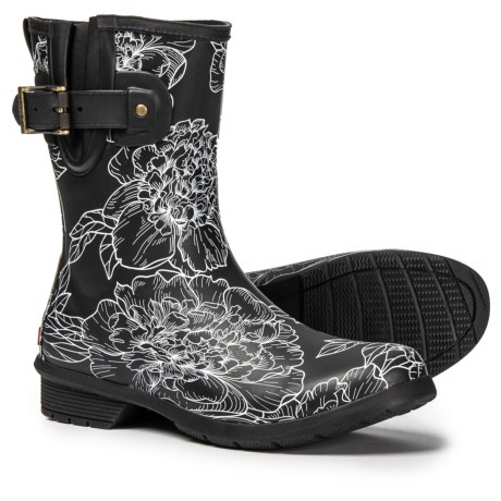 Image of Cora Floral Print Rain Boots - Waterproof, Slip-Ons (For Women)