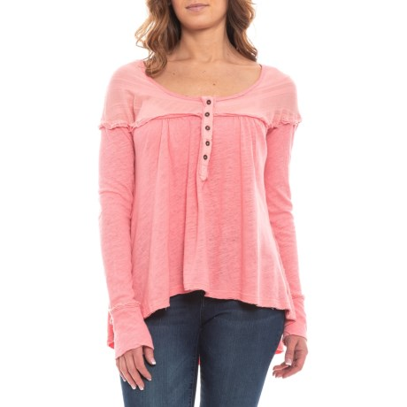 Image of Coral Down Under Henley Shirt - Long Sleeve (For Women)