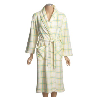 Coral Fleece Robe - Self-Tie Belt (For Women) in White Mountain Plaid