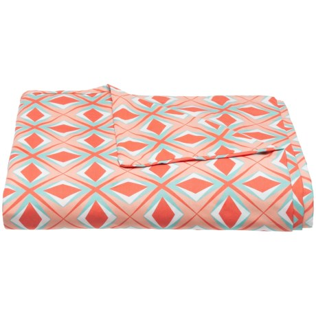 Image of Coral Geo Print Organic Cotton Duvet Cover - Twin