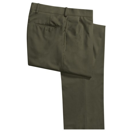 Corbin Worsted Wool Dress Pants - Forward Pleats (For Men) in Olive