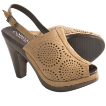 Cordani Hartman Peep-Toe Slides - Suede (For Women) in Camel Suede - Closeouts