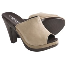 Cordani Hartwell Peep-Toe Slides (For Women) in Beige Suede - Closeouts
