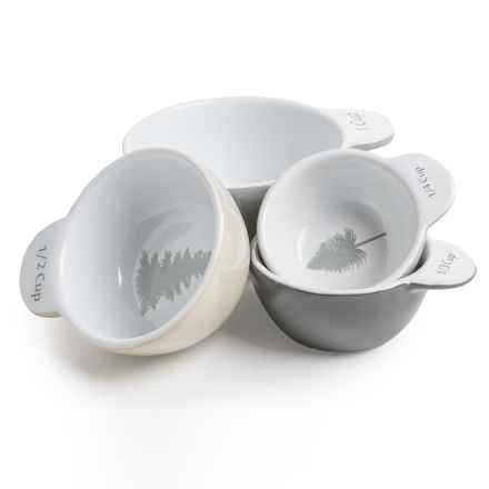 Core Bamboo Ceramic Evergreen Measuring Cup Set in White - Overstock