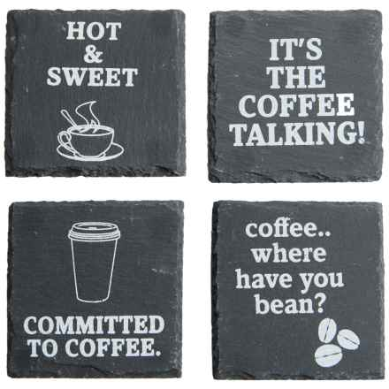 Core Bamboo Etched Slate Coasters - Set of 4 in Coffee - Closeouts