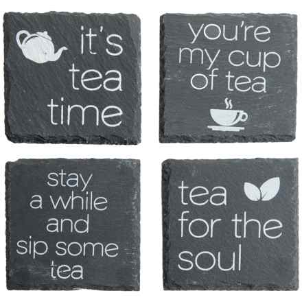 Core Bamboo Etched Slate Coasters - Set of 4 in Tea - Closeouts