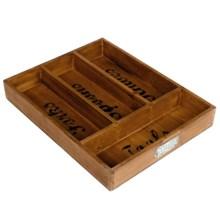 Core Bamboo Farmhouse Flatware Tray - Four Compartments in Dark Wood - Closeouts