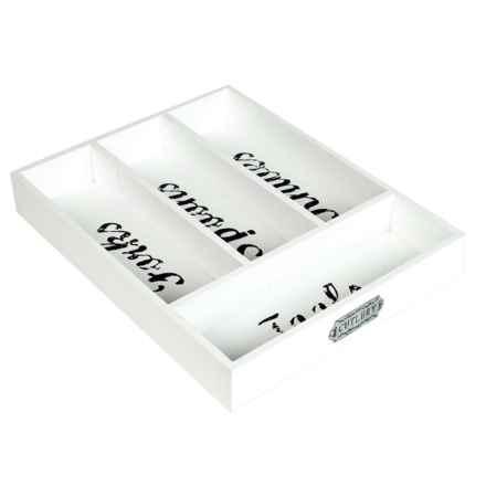 Core Bamboo Farmhouse Flatware Tray - Four Compartments in White - Closeouts