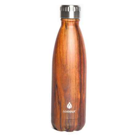 Core Bamboo Manna Vogue Water Bottle - 17 fl.oz., Stainless Steel, Faux-Wood Finish in Walnut - Closeouts