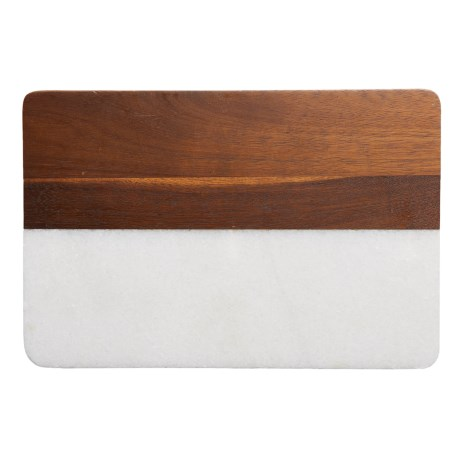 "Core Bamboo Medici Marble and Acacia Wood Serving Board - 8x12"" in Acacia/White Marble"