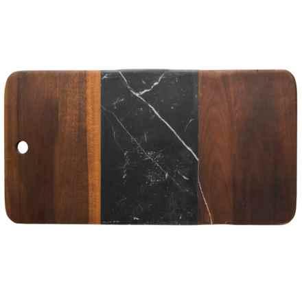 Core Bamboo Medici Marble and Acacia Wood Serving Board in Acacia/Black Marble - Closeouts
