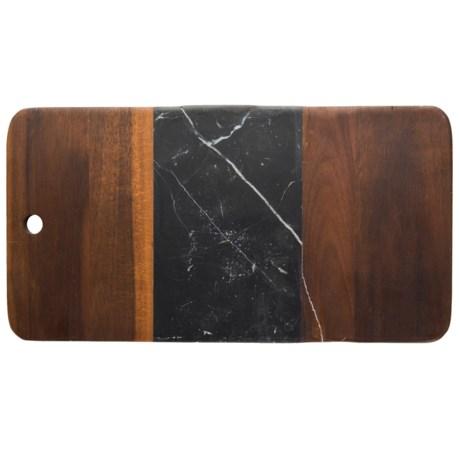 Core Bamboo Medici Marble and Acacia Wood Serving Board in Acacia/Black Marble