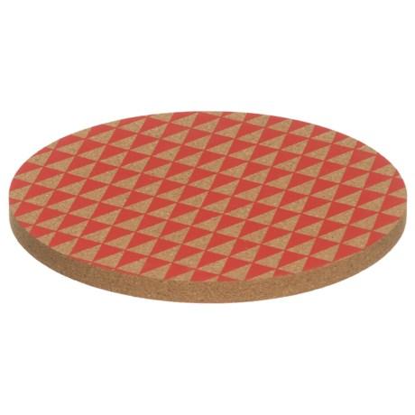 Core Bamboo Round Cork Trivet in Strawberry Triangles