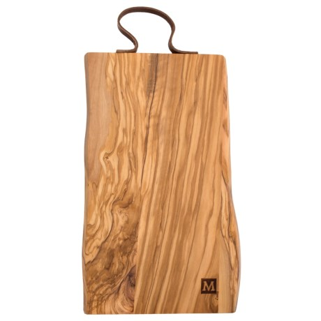 """Core Bamboo Rustic Cutting Board with Leather Strap - 16x8"""" in Olive Wood"""