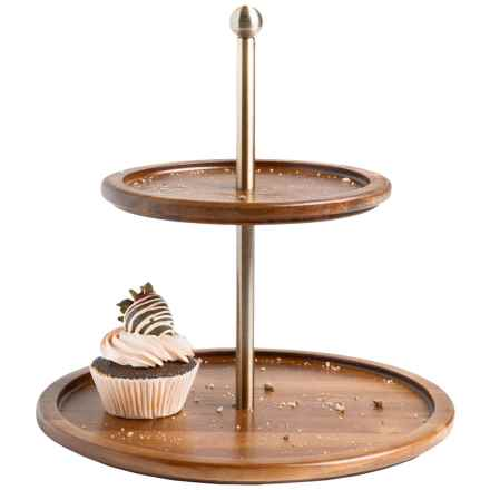 Core Bamboo Two-Tier Serving Platter - Acacia Wood in Acacia - Closeouts
