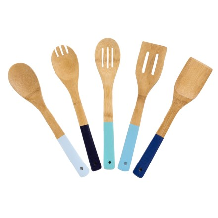 99402e5111ef Core Bamboo Utensil Set with Colored Handles - 5-Piece in Ombre Blue -  Overstock