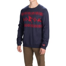 Core Concepts Hot Dog Sweater - Merino Wool, Crew Neck (For Men) in Navy/Fire - Closeouts