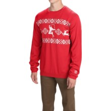 Core Concepts Hot Dog Sweater - Merino Wool, Crew Neck (For Men) in White/Fire - Closeouts