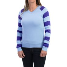 Core Concepts Limelight Sweater - Merino Wool, V-Neck (For Women) in Aqua/Vivid - Closeouts