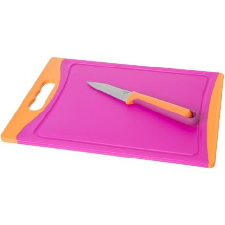 Core Kitchen Deluxe Cutting Board and Knife Set - 2-Piece, BPA-Free in Magenta/Mandarin