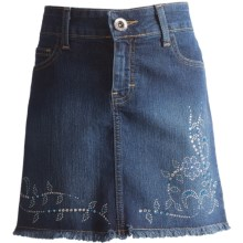 Corral Boots Climbing Vine & Flower Jean Skirt (For Juniors) in Turquoise/Silver - Closeouts