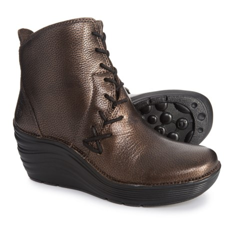 Image of Corset Wedge Boots - Leather (For Women)