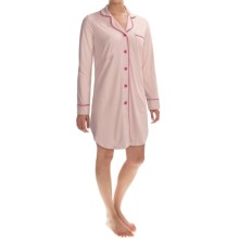 Cosabella Bella Amore Nightshirt - Pima Cotton-Modal, Long Sleeve (For Women) in Pinolo/Bright Grenadine - Closeouts