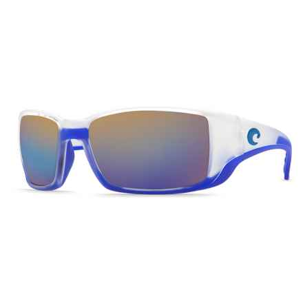 Costa Blackfin Sunglasses - Polarized 400G Glass Mirror Lenses in Matte Crystal/Blue Trim/Blue Mirror 400G - Closeouts