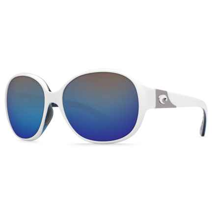 Costa Blenny Sunglasses - Polarized Mirrored 580P Lenses (For Women) in White/Topaz Blue Mirror - Closeouts