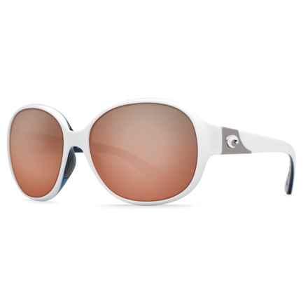 Costa Blenny Sunglasses - Polarized Mirrored 580P Lenses (For Women) in White/Topaz Silver Mirror - Closeouts