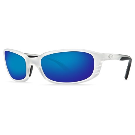 Costa Brine Sunglasses - Polarized 400G Glass Mirror Lenses in Matte Crystal/Blue Mirror