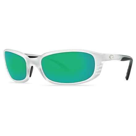 Costa Brine Sunglasses - Polarized 400G Glass Mirror Lenses in Matte Crystal/Green Mirror - Closeouts
