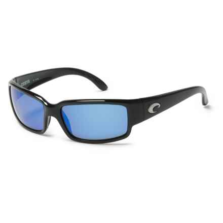 Costa Caballito Sunglasses - Polarized 400G LightWAVE® Glass Mirror Lenses in Shiny Black/Blue Mirror - Closeouts