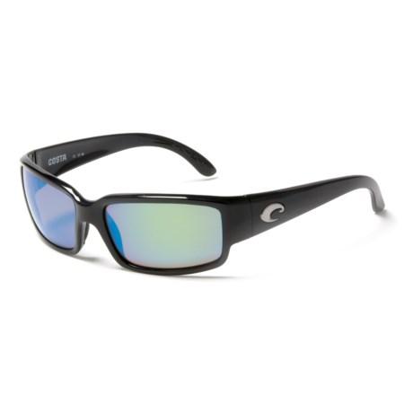 Costa Caballito Sunglasses - Polarized 400G LightWAVE® Glass Mirror Lenses in Shiny Black/Green Mirror