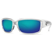 Costa Caballito Sunglasses - Polarized, Mirrored 580G Lenses in Crystal/Blue Mirror - Closeouts