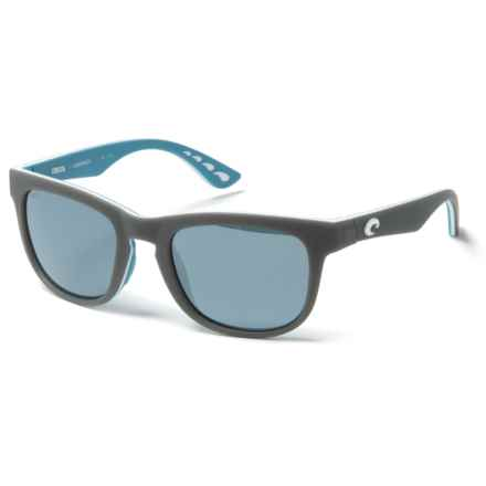 Costa Copra Sunglasses - Polarized Mirror 580P Lenses in Matte Gray/White/Sea Glass Ocearch/Grey Silver Mir - Closeouts