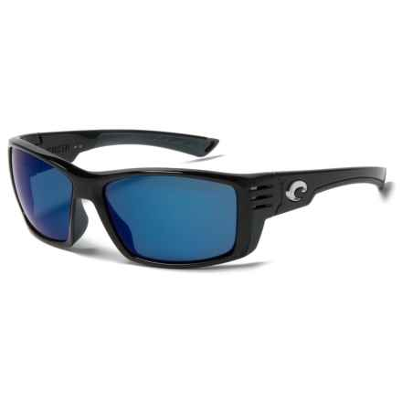 Costa Cortez Sunglasses - Polarized Mirror 580P Lenses in Shiny Black/Blue Mirror - Closeouts