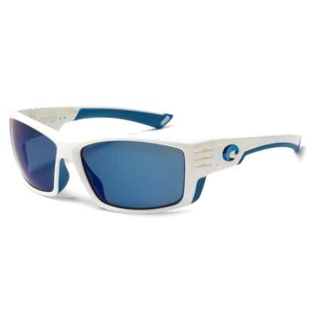 Costa Cortez Sunglasses - Polarized Mirror 580P Lenses in White With Blue Logo/Blue Mirror - Closeouts