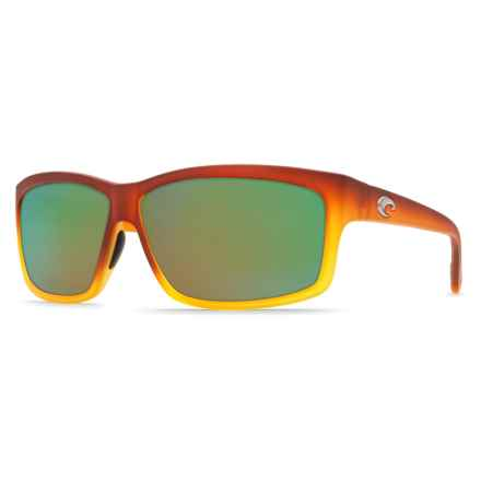 Costa Cut Sunglasses - Polarized 400G Glass Mirror Lenses in Frosted/Sunset Fade/Green - Closeouts