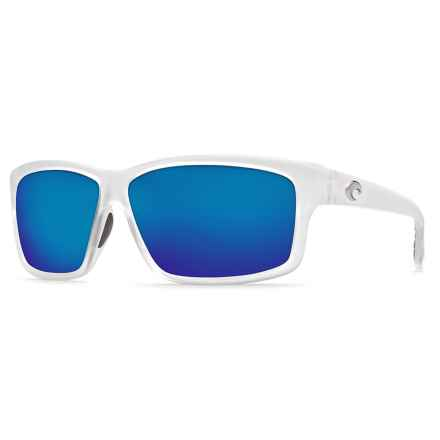 Costa Cut Sunglasses - Polarized 400G Glass Mirror Lenses in Matte Crystal/Blue Mirror - Closeouts