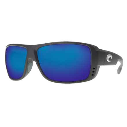 Costa Double Haul Sunglasses - Polarized 400G Glass Mirror Lenses in Black/Blue Mirror 400G - Closeouts